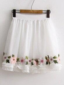 Elastic Waist Ruffle Layered Skirt