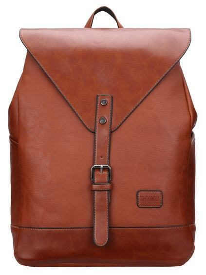Buckle Design Flap PU Backpack