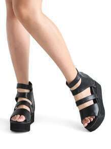 Zipper Back Strappy Flatform PU Sandales