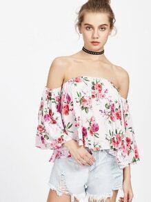 Off Shoulder Floral Print Blouse