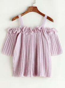 Cold Shoulder Applique Pleated Top