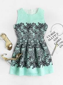 Floral Print Jacquard Fit And Flare Dress