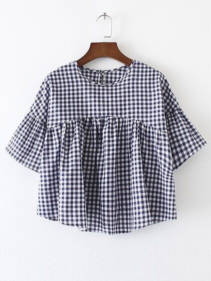 Bell Sleeve Gingham High Waist Top