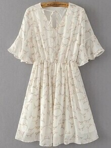 Tie Neck Bell Sleeve A Line Dress