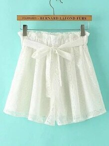 Lace Crochet Shorts With Self Tie