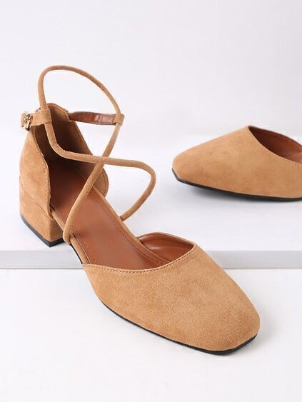 Square Toe Cross Strap Heeled Shoes