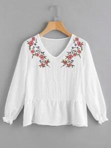 Blusa escote V estampada floral con fuelle