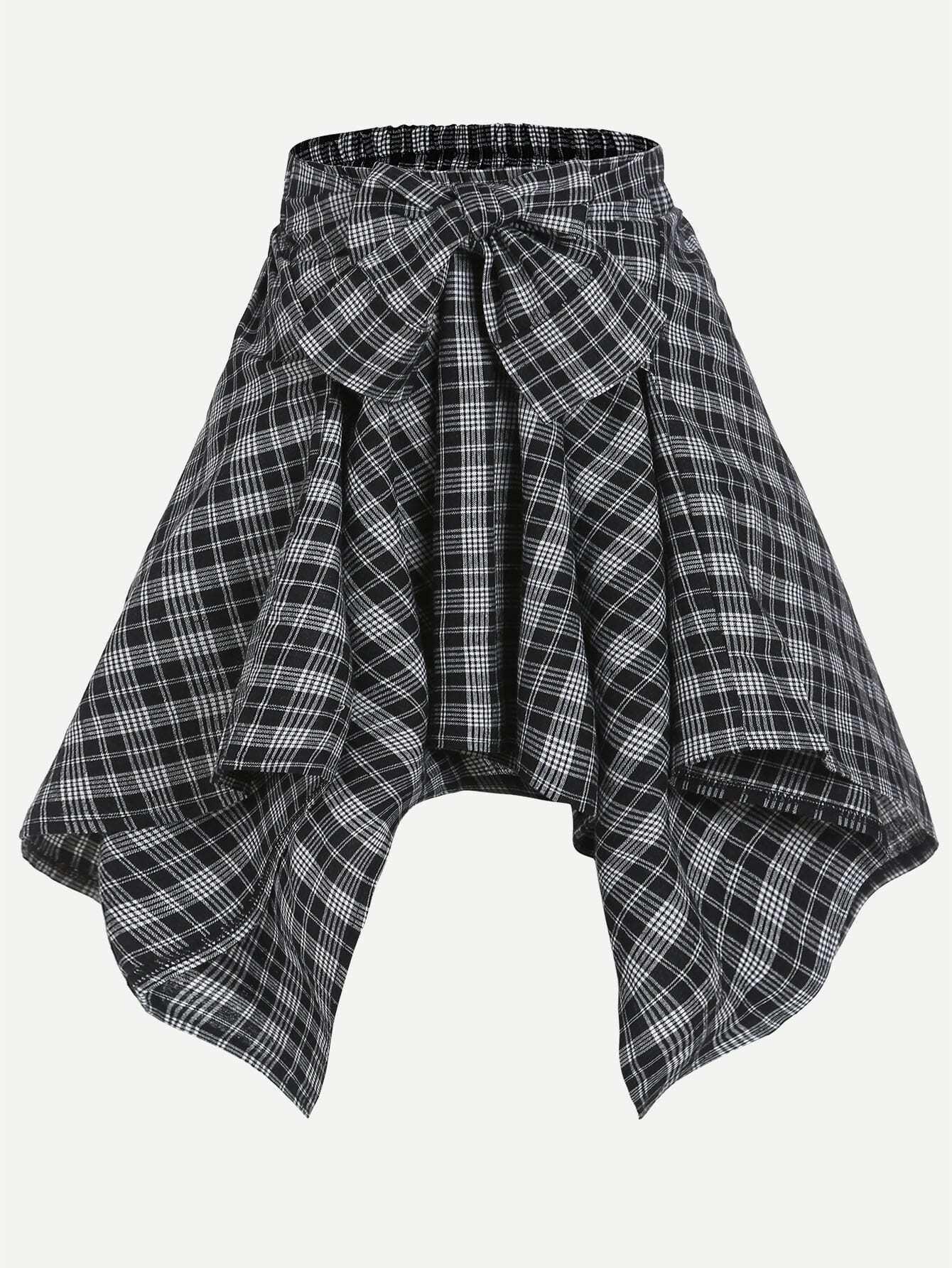 Plaid Print Asymmetric Hem Bow Waist Skirt