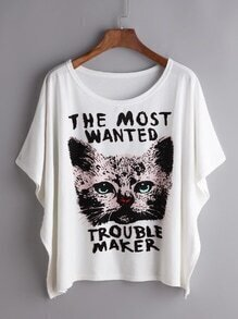 Dolman Sleeve Cat Print Tee