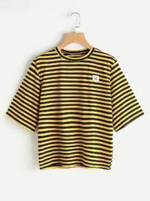 Bienen-Streifen-Emoji Flecken-T-Shirt