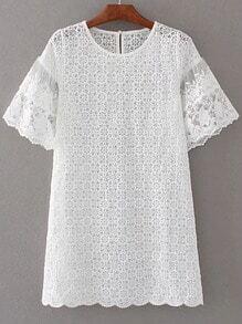 Lace Crochet Keyhole Back Dress