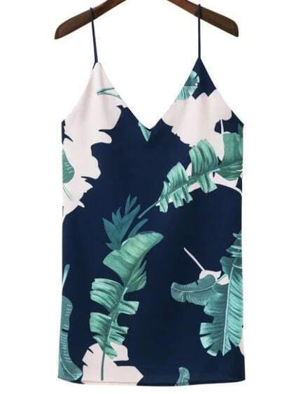 Double V Neck Tropical Print Cami Dress