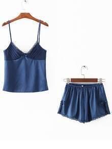 Lace Trim Tie Detail Ensemble de vêtements de nuit