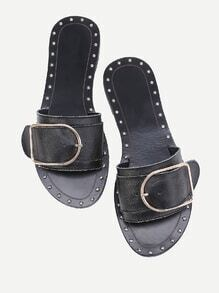 Buckle Design Studded Slip On Sandals