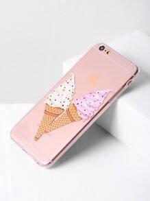 Double Ice Cream Print Clear iPhone 6 Plus/6s Plus Case