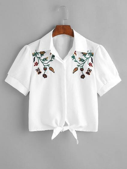 Tie Front Hidden Button Embroidered Crop Blouse