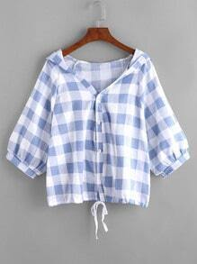 Hooded Gingham Lace-Up Hem Blouse