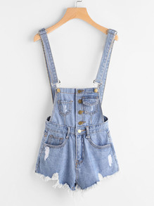 Ripped Denim Overall Romper With Button Front