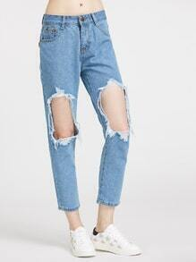 Distressing Ripped Knees Jeans