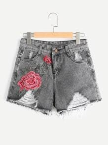 Shorts roto bordado de flores
