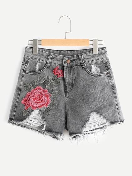 Distressed Raw Hem Flower gestickte Shorts