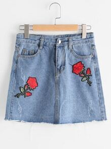 Frayed Hem Denim Skirt With Flower Patches