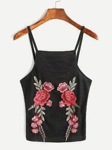 Rose Embroidered Pleated Cami Top