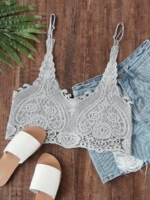 Hollow Out Crop Lace Cami Top