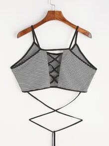 Pinstriped Crisscross Back Tie Detail Crop Cami Top