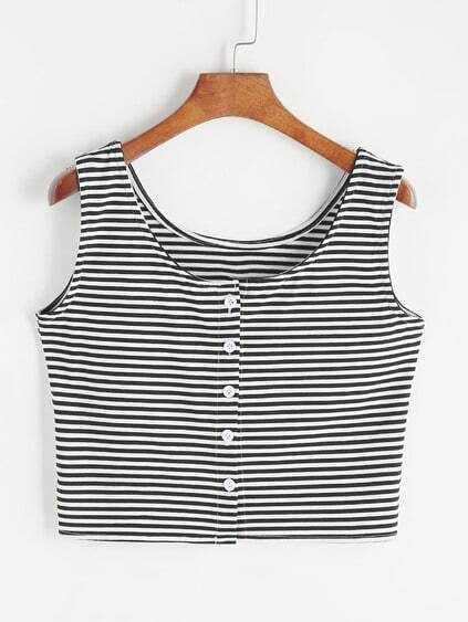 Striped Crop Tank Top With Button