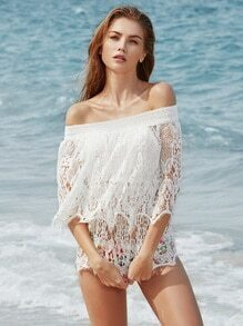 Flounce Layered Neckline Hollow Out Crochet Cover Up