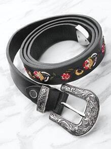 Cinturón con bordado de flor con hebilla en contraste