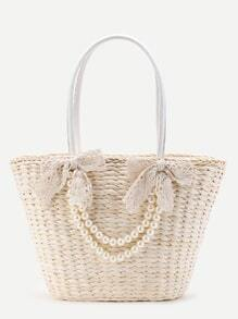 Faux Pearl Straw Tote Bag With Bow