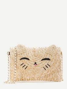 Buy Cat Shaped Straw Crossbody Bag