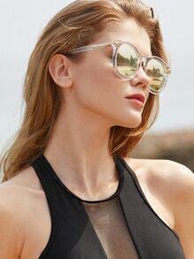 Clear Frame Mirror Lens Sunglasses