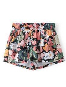Elastische Taille Blumen Shorts