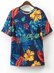 Leaves Print Loose T-shirt