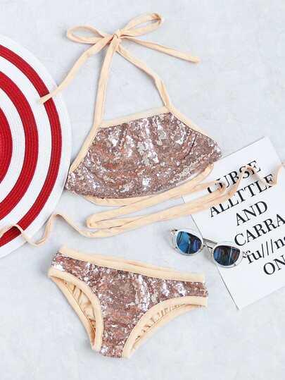 Sequin Detail Strappy Bikini Set
