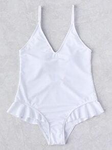 Flounce Detail Plunge Neckline One Piece Swimwear