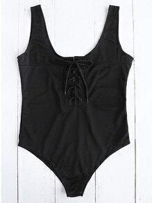 Lace Up Neckline One Piece Swimwear