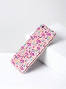 Funda para iPhone 6/6s con estampado de flamingo y piña