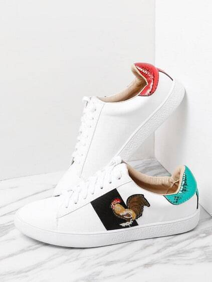 Contrast Cock Pattern Lace Up Sneakers
