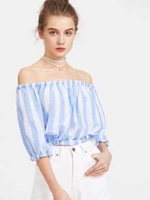 Bardot Neckline Striped Shirred Crop Top