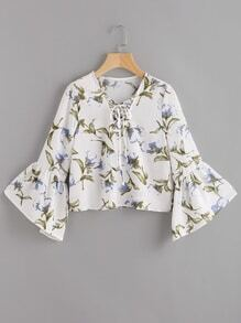 Lace-Up Front Trumpet Sleeve Floral Print Top