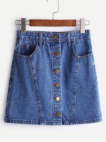 Falda línea A con una fila de botones