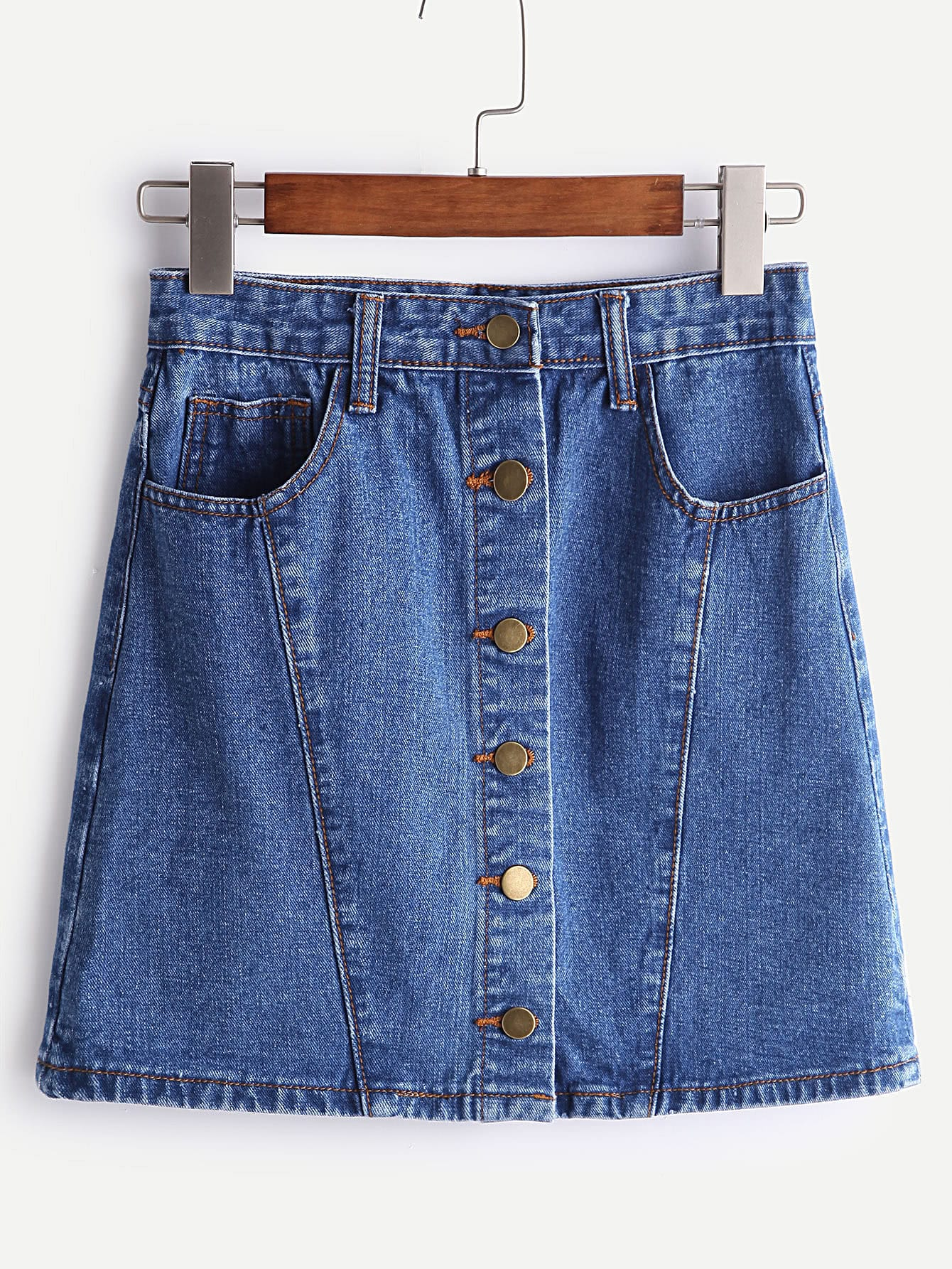 A-Line Single Breasted Denim Skirt