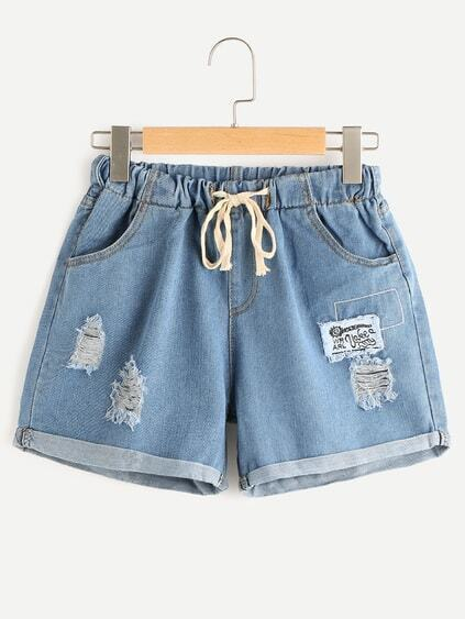 Shorts roto en denim bordado con cordón