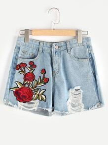 Ripped Applique Raw Hem Denim Shorts