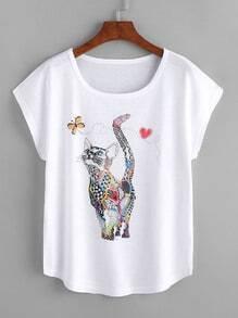 Camiseta suelta estampada de gato