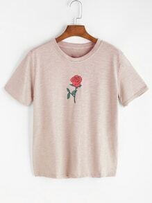 Camiseta de hilo estampada de rosa
